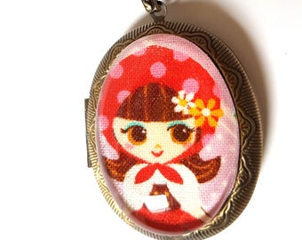 Little Red Riding Hood Locket Necklace-Fairy Tale Fashion-Gifts for Girls-Fashion Accessory-Christmas Gift-Story Book-Bibliophile-Book Nerd