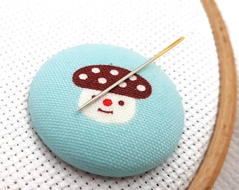 Mushroom-Needle Minder-Reversible Needleminder-Funghi-Magnetic-Cross Stitch-Embroidery-Quilting-Sewing-Needlepoint-Polka Dots-Hippie Supply