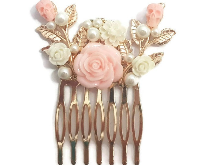 Featured listing image: Pink  Hair Comb-Skull Comb-Wedding Comb-Bridal Comb-Bridesmaid Comb-Prom Hair Accessory-Pearl Hair Clip-Golden Comb-Gothic Hair Comb-Goth