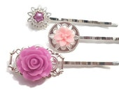 Purple Flower Pins-Silver Bobby Pin-Wedding Hair Pins-Bridal Bobby Pins-Pearl Bobby Pins-Wedding Hair Slides-silver Clips-Bridesmaid Gift