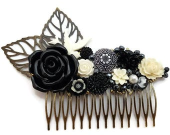 Black Floral Comb-Monochromatic Comb-Wedding Comb-Bridal Comb-Prom Hair Comb-White Flower Comb-Bobby Pins-Black Floral Slides-Fascinator