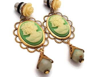 0g 8mm Plugs-Lady Cameo Plugs-Dangle Plugs-Stretched Ears-Wedding Plugs-Prom Plugs-Green Plugs-Girly Gauges-Wedding Gauges-Bridal Plugs