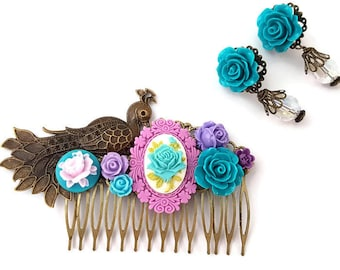 Peacock Comb-Wedding Comb-Earrings- Jewelry Set-Blue Floral Pins-Prom Hair-Cameo Hair Pins-Bird Bobby Pins-Rose Hair Clips-Bridesmaid Comb