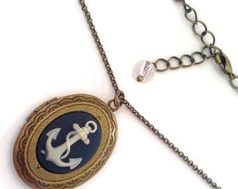 Nautical  Anchor Mini Locket-Navy Gift-Rockabilly Fashion-Ocean Theme-Sailor Chic-Gifts for Teens-Sea Trend-Locket Necklace-Antique Brass