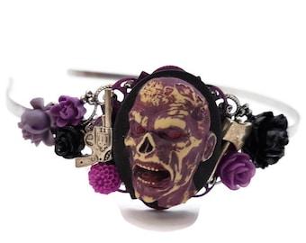 Zombie Headband-Zombie Wedding-Undead Bride-Halloween Wedding-Zombie Hair Comb-Purple Headband-Zombie Bobby PIns-Zombie Hair Slides-Spooky