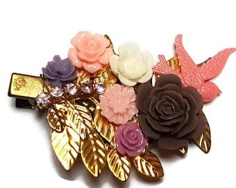 Bird Hair Clip-Bird Hair Accessory-Bright Fashion-Pink Wedding-Bridesmaid Gift-Bridal Party-Offbeat Bride-Decora Fashion-Chunky