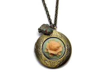 Floral Locket-Flower Pendant-Brass Picture-Layering Necklace-Vintage Style-Antiqued Bronze Jewelry-Peach Necklace-Memorial Necklace-Unique