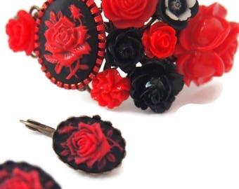 Red Rose Cameo Cluster Bracelet Earrings Set-Jewelry Set-Floral Fashion-Cameo Earrings-Fashion Accessory-Antique Brass-Christmas Gift-Pretty