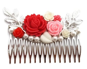 Red Wedding Comb-Bridesmaid Comb-Pink Floral Comb-Pearl Comb-Flower Hair Comb-Bobby Pins-Hair Slides-Bridal Hair Clip-Rose Hair Accessory