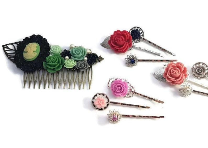 Black Rose Comb-Wedding Fascinator-Fashion Hair Comb-Floral Accessory-Bridesmaid Hair-Wedding Accessory-Flower Hair Comb-Wedding Bobby Pins