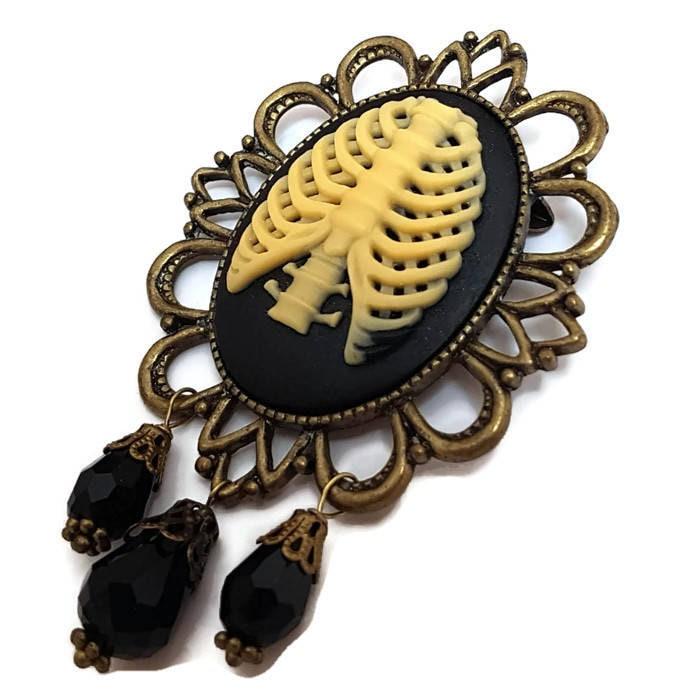 Rib Cage Brooch-Anatomy Pin-Rib Cage Pin-Lapel Pin-Goth Jewelry-Punk ...