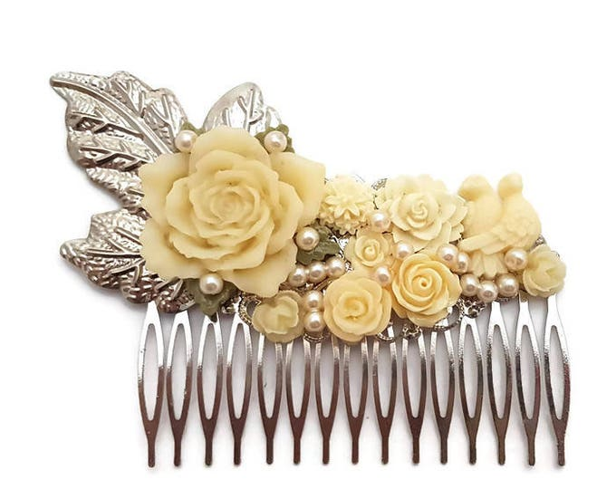 Featured listing image: Cream Wedding Comb-Bridesmaid Comb-Floral Comb-Pearl Comb-Flower Hair Comb-Bobby Pins-Hair Slides-Bridal Hair Clip-Rose Hair Accessory-Bird
