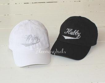 7e1b13ce Hubby Wifey Hats, Honeymoon Hats, Newlywed Gift, Unisex Baseball Caps,  Custom Embroidery Classic Dad Caps