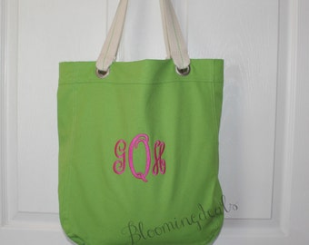 Canvas Tote Bag, Personalized Monogrammed Gift, Book Bag, Travel Tote Custom Embroidery by Bloomingdeals