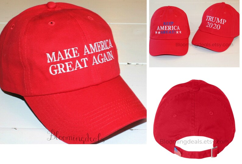 Make America Great Again Baseball Cap, Made in USA Hats, Red Trump Hat,  Embroidery by Bloomingdeals
