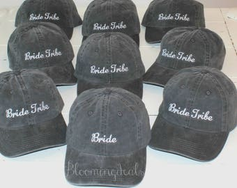 Wedding Party Baseball Caps, Set of 9 Custom Embroidery Ball Caps, Pigment Dyed Vintage Look Hats Bride, Bride Tribe Caps