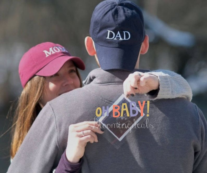 a512eaab300 Pregnancy Announcement Baseball Caps MOM and DAD hats Gender