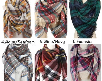 Plaid Blanket Scarf,  Winter Wrap Tartan Plaid Scarf,  Gift For Her, Oversized Blanket Scarf, Plaid Scarf  Under 20 Dollars, Bloomingdeals