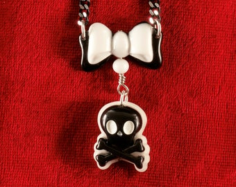 """60% OFF SALE Skull and Crossbones with Bow Black & White Pirate Necklace 18"""" w/ Japanese Plastic Cabochons on Black Chain Goth Loli Jewelry"""