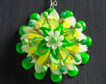 """Large Green & Yellow Vintage Passionflower Bloom Necklace with Stacked Plastic and Metal Flowers on 18"""" Sterling Silver Chain Jewelry Floral"""