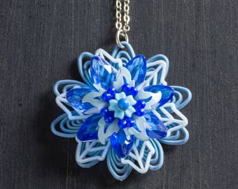 """Shades of Blue Vintage Passionflower Bloom Necklace with Stacked Plastic and Metal Flowers on 18"""" Sterling Silver Chain Jewelry Floral"""
