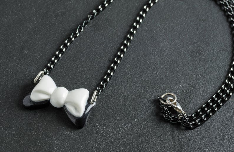 50% OFF SALE Black and White Bow Necklace with Japanese image 0
