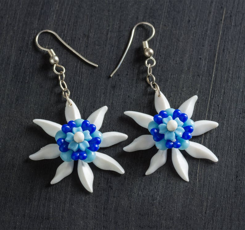 33% OFF SALE White & Blue Passionflower Bloom Earrings with image 0