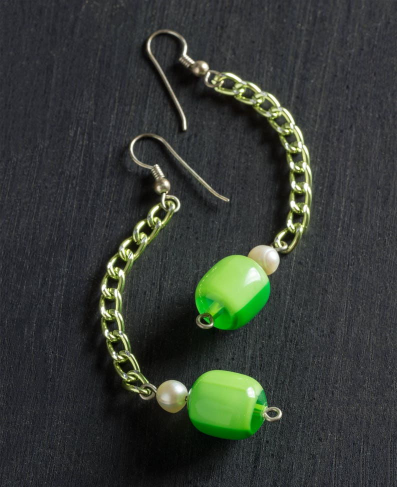 50% OFF SALE Vintage Green Candy Dangle Drop Earrings with image 0