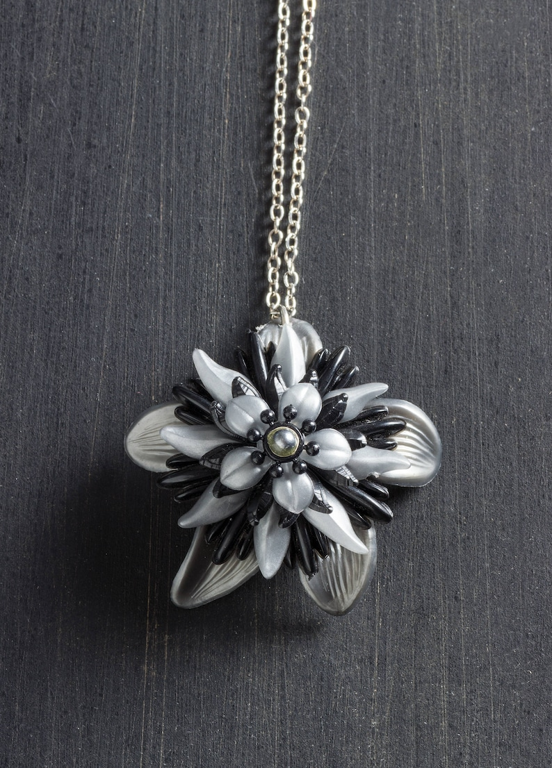 Black and Silver Vintage Passionflower Bloom Necklace with image 0