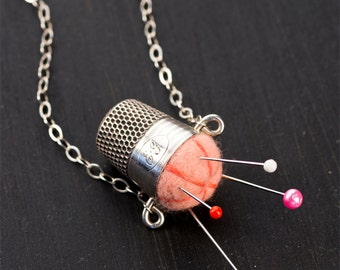 """Handmade Sterling Silver Felted Light Coral Pink Pincushion Necklace 19"""" Chain Jewelry with Antique Thimble & Pins for Valentines Day Gift"""