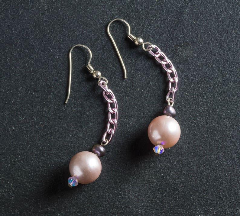50% OFF SALE Pink Vintage Faux Pearl Drop Dangle Earrings image 0