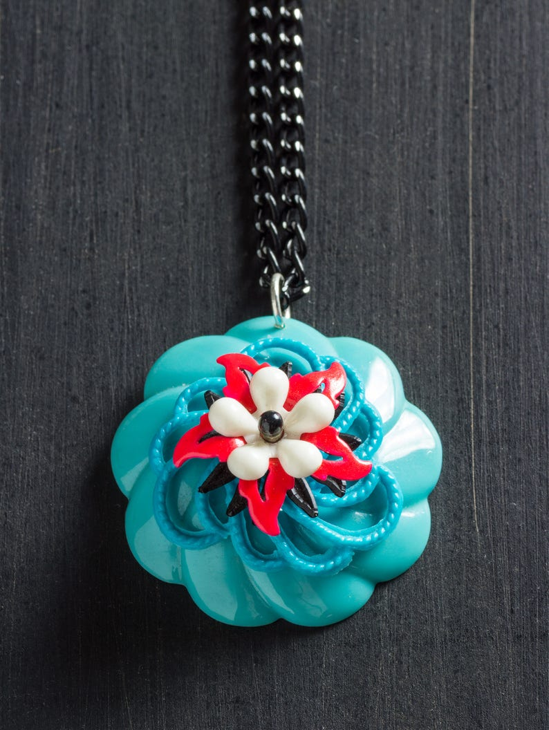 5.00 OFF SALE Vintage Turquoise & Fluorescent Red Bloom image 0