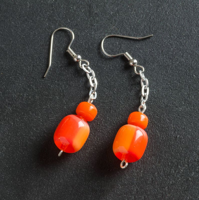 50% OFF SALE Orange Vintage Candy Drop Lucite Earrings image 0
