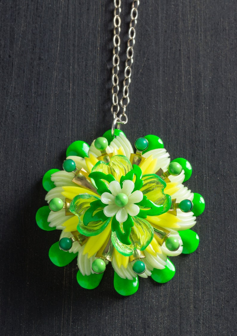 Large Green & Yellow Vintage Passionflower Bloom Necklace with image 0