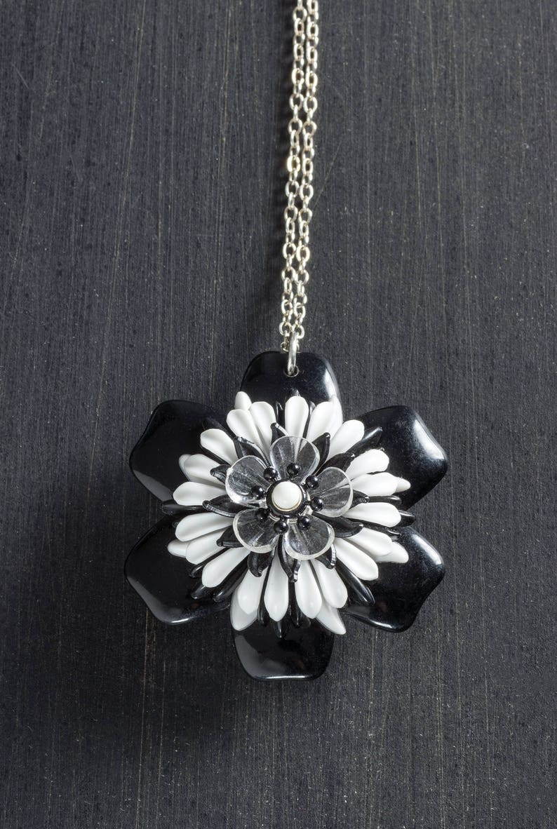 Black and White Vintage Passionflower Bloom Necklace with image 0