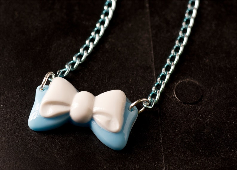 50% OFF SALE Light Blue and White Bow Necklace with Japanese image 0