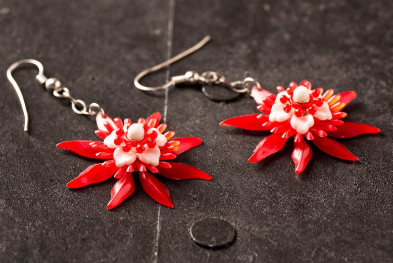 Red and White Bloom Earrings on Sterling Silver image 0