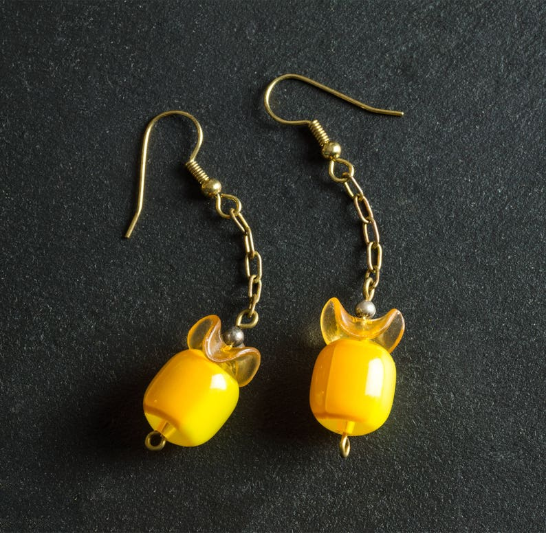 50% OFF SALE Yellow Vintage Candy Drop Lucite Earrings Dual image 0