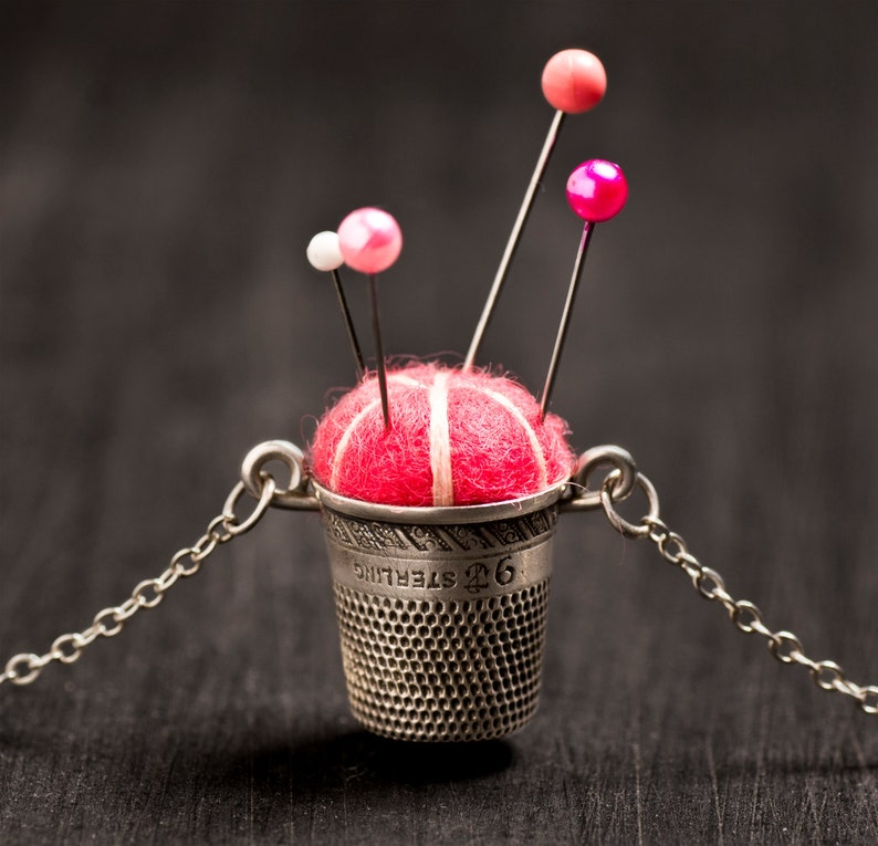 Handmade Sterling Silver Pincushion Necklace 20 Magenta image 0