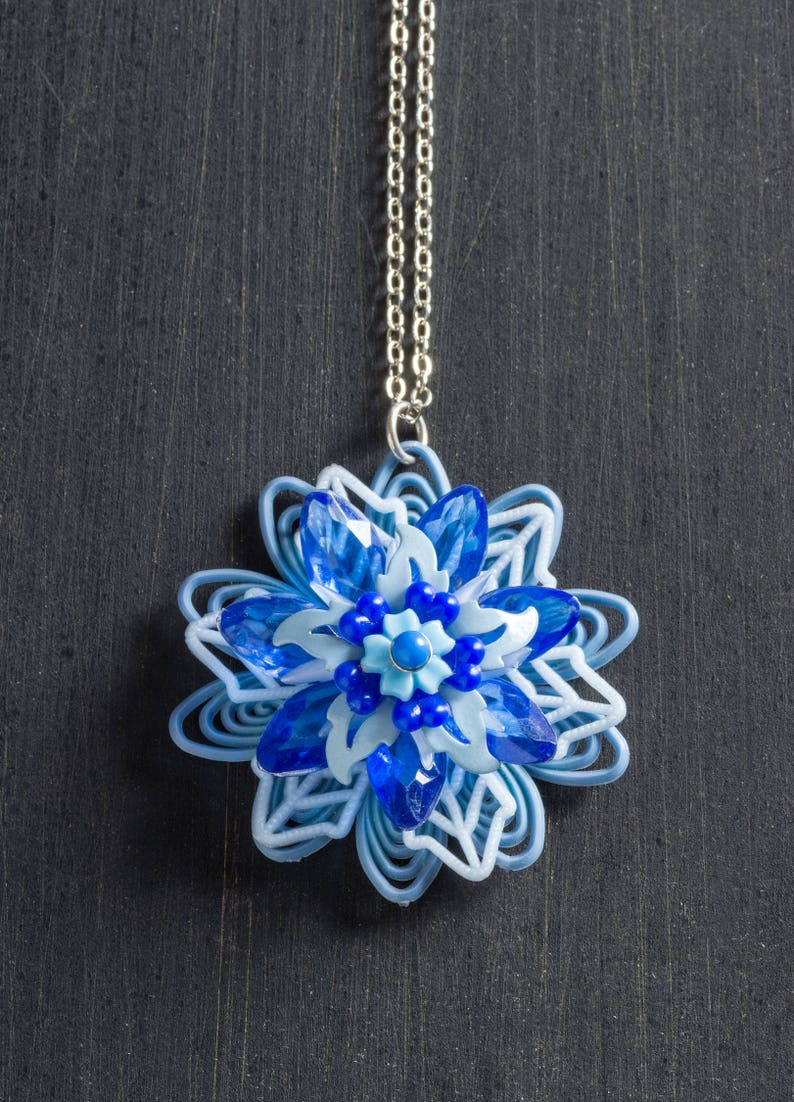 Shades of Blue Vintage Passionflower Bloom Necklace with image 0