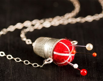 """Red with White Stitching Sterling Pincushion Necklace 19"""" with Hand Felted Wool Thimble and Pins Valentine's Day Gift for Women or Crafters"""