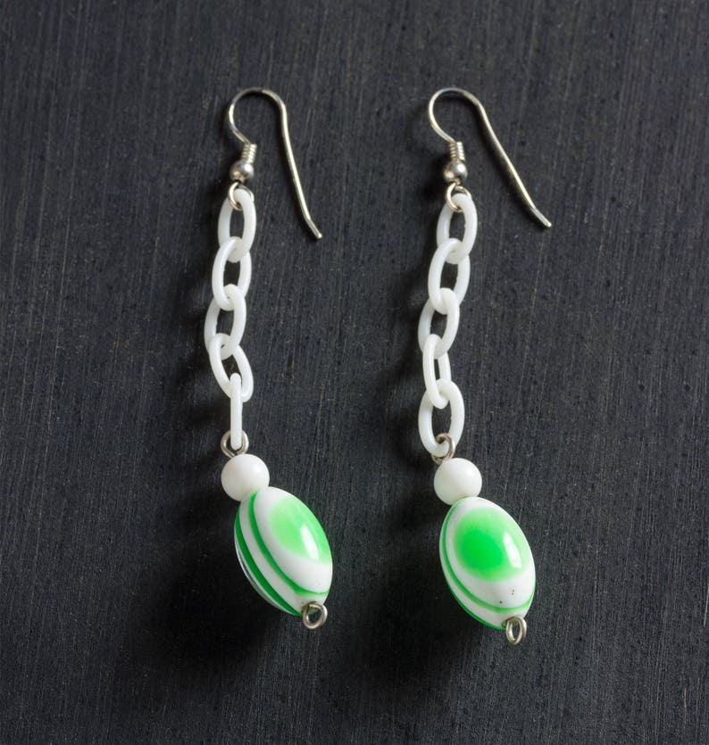 60% OFF SALE Green & White Striped Vintage Lucite Drop Dangle image 0