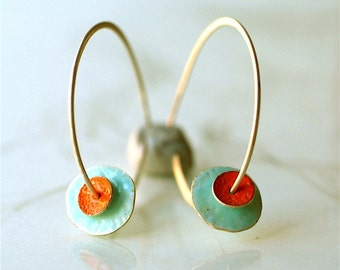 tangerine and turquoise hoops  Reserved for Patrick