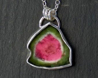 Tourmaline slice necklace / watermelon tourmaline / bicolor tourmaline / tourmaline crystal / tourmaline pendant / tourmaline jewelry / gift