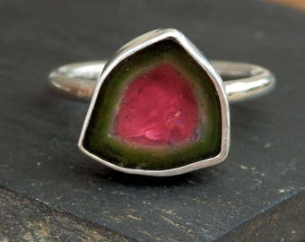 Watermelon tourmaline slice ring / custom ring / bi color tourmaline ring / October birthstone / tourmaline jewelry / raw tourmaline crystal