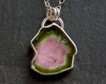 Tourmaline slice necklace / watermelon tourmaline / bi color tourmaline / raw tourmaline / tourmaline pendant / tourmaline crystal / gift