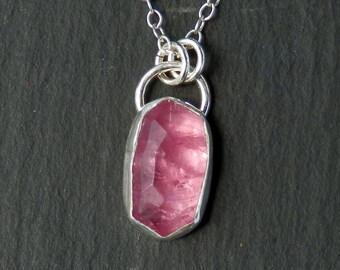 Pink tourmaline necklace / rose cut tourmaline / tourmaline pendant / tourmaline crystal / tourmaline jewelry / tourmaline slice / for her