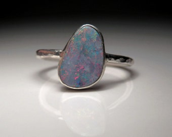 Australian opal doublet and sterling silver ring / October birthstone ring / pink opal ring