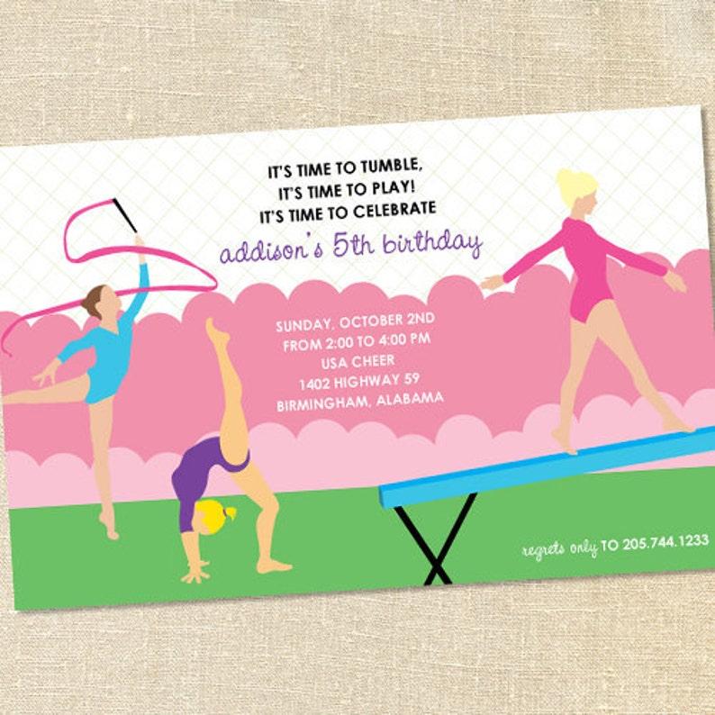 Sweet Wishes Girls Gymnastics Birthday Party Invitations  image 0
