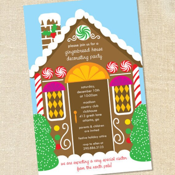 Sweet Wishes Gingerbread House Decorating Party Invitations